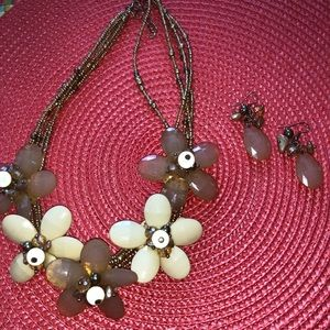 Flower beaded necklace and earring set